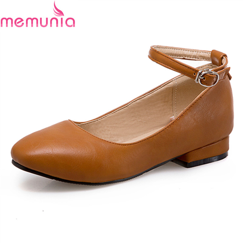 MEMUNIA 2018 hot sale sweet black leisure ladies shoes low heel round toe high quality soft leather casual shoes spring autumn<br>