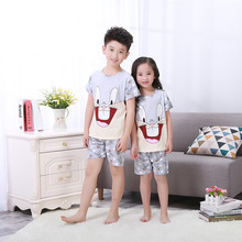 Kids pajama sets for 2017 summer short sleeved baby clothing cartoon boys girls sleepwear cute children underwear free shipping