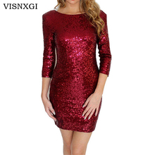 VISNXGI New 2017 Sexy Style Summer Dress Women O-Neck Half Sleeve Paillette Sequins Backless Bodycon Slim Pencil Party Dresses
