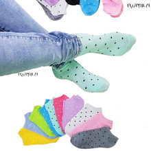 Warm comfortable cotton bamboo fiber girl women's dot socks ankle low female invisible  color girl boy hosiery 1pair=2pcs WS03-6