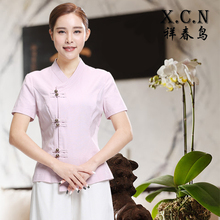 Chinese Beauty Salon SPA Uniform New Designs Short Sleeve Pink Work Wear Thai Massage Linen Cotton Uniforms Set Hotel Workwear