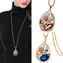 LNRRABC Flower 2016 Fashion Rhinestone Crystal Stone Vintage cheap Sweater Chain Women Long Pendant Necklace Jewelry