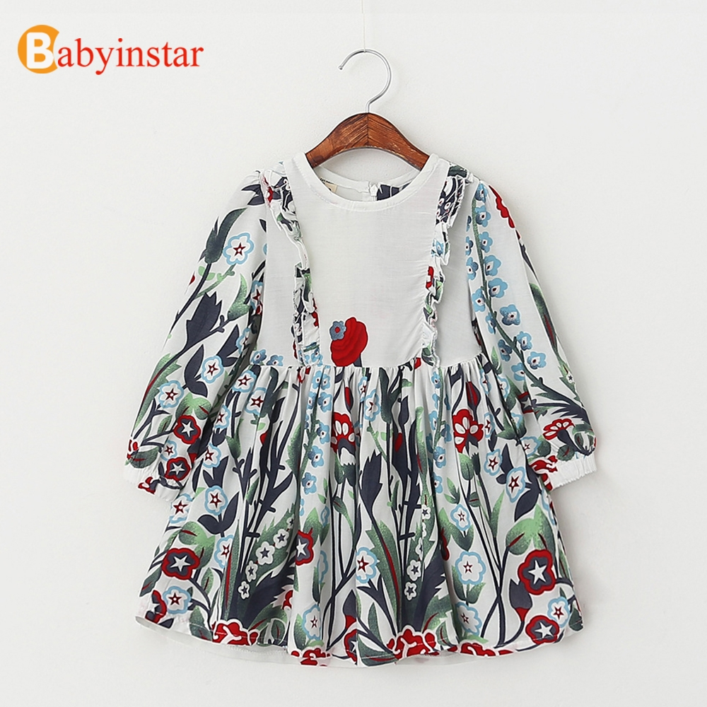 Babyinstar 2017 New Spring Long Sleeve Girls Dress Floral Pattern Childrens Clothing Baby Outwear Fashion Kids Dresses<br><br>Aliexpress