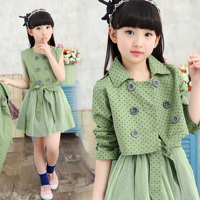 2017 Mid-calf Sheath Offer Christmas Dress 2016new Spring Girls Cotton Double Breasted Coat Trench Jacket+dress Two Piece Suits <br><br>Aliexpress
