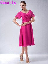 Fuchsia Short Modest Bridesmaid Dresses With Sleeves V Neck Pleats A-line Knee Length Sleeved Wedding Party Dress Boho Informal(China)