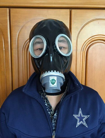 100% Natural Latex FULL RUBBER GASMASK Fetish Suffocation Cosplay Mask Head Hood