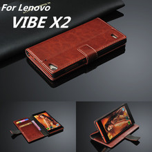 For fundas Lenovo VIBE X2 card holder cover case for Lenovo VIBE X2 leather phone case ultra thin wallet flip cover