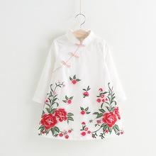 2017 new trend change cheongsam baby children's cheongsam fall Embroidery Floral A-Line Full Chinese wind redesign cheongsam