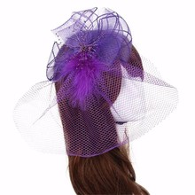 Modern Women Brides Wedding Fascinator Veil Feather Hard Yarn Headband Hats Hair Accessories Clothes Hairband 6 Color