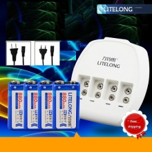 4pcs 9V 880mAh lithium battery  +9V Ni MH / Ni Cd / lithium ion battery universal charger