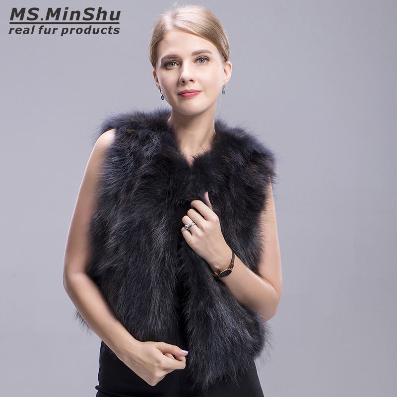 raccoon fur vest grey 1