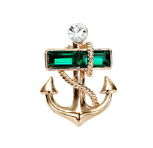 H:HYDE New Jewelry Navy Style Crystal Shiny Pin Brooch Exquisite Anchors Broochs Pin Women Men Jewelry Accessories