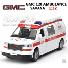 High Simulation Exquisite Model Toys: ShengHui Car Styling GMC Chinese Ambulance SAVANA 1:32 Alloy Car Model Excellent Gifts