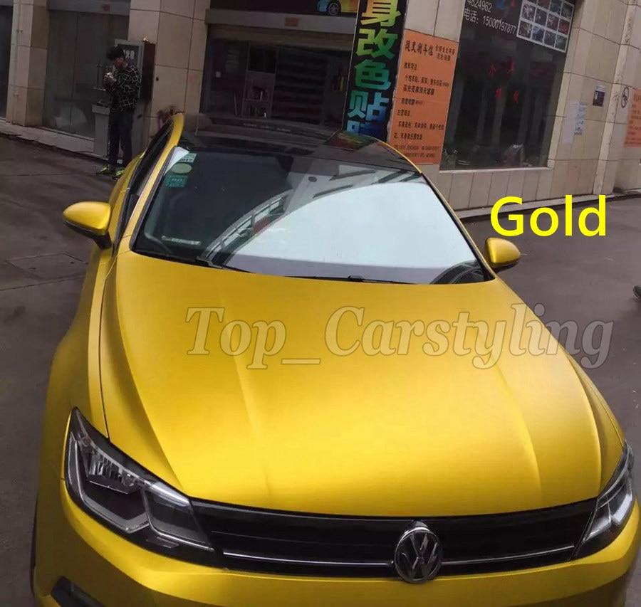 Gold yellow SATIN CHROME METALLIC Matte chrome car vinyl wrapping film graphic Foile wrap skin covering APA VIVID 3M STICKERS (2)
