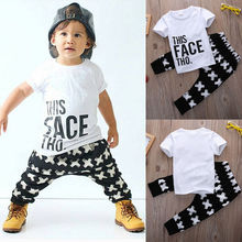 Kid Cross Clothing Sets Toddler Kids Baby boy Summer Outfits Sports Clothes Letter T-shirt Tops+Harem Pants 2pcs Set(China)