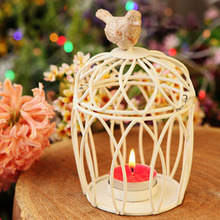 New Europe Style Birdcage Metal Candle Holders wedding decoration White Creative Candle Lantern Candlestick Free Shipping(China)