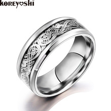 High Quality 2 color Titanium ring inlaid Pattern Stainless Steel Wedding Rings For women men Wedding Fine Jewelry bague homme