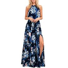 Buy Beach Chiffon Maxi Long Dress Women Sexy Sleeveless Halter Floral Printed Dresses Girls Lady Casual Boho Party Dress #Ju