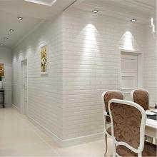 White 3D Brick Wallpaper Roll  Wall Covering For Home Decoration Embossed Wall Paper Free shipping