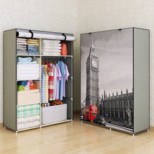 Fashion design DIY Non-woven anti-dust  Reinforced Steel Frame Easy Disassembly Combination Wardrobe Storage Folding
