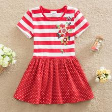 2017 summer for girls dress baby kids entity decals 100% cotton nova girl bead embroidery lace dress free shipping(China)
