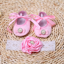 2015 fabric toddle baby booties;girls baptismal shoe;baby shoes headbands sets,infant moccs,cheap newborn shoes