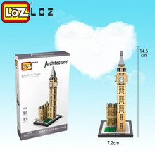 LOZ Elizabeth Tower World Famous Architecture Big Ben Clock Tower London Mini Small Building Block toys Christmas gift(China)