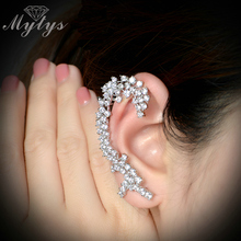 Mytys 2017 Fashion Earring Cuff Earring High Level Zircon Plants Design Ear Cuffs Clip Earrings for Lady E118(China)