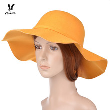VBIGER Women Woolen Fedoras Hat Cap Gorgeous Cloche Dome Wide Brim Hat Cap with Bowknot Lady Billycock Top Hat for Winter Autum(China)