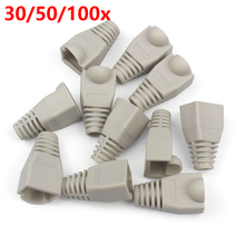 30/50/100x 8P RJ45 Connector Cat 5 5e 6 RJ45 Plug Cap Ethernet Network Cable Strain Relief Boot RJ45 plug Socket Boot Grey HY202