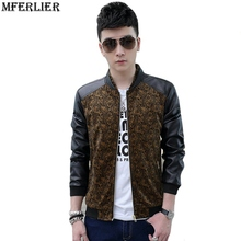MFERLIER autumn Winter men casual Faux Leather pu jackets print flower brown red navy 4XL slim fit male jacket Trench coat cool(China)