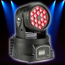 Fast Shipping 18x3w RGB CREE LED mini Moving Head Light Moving Head Wash Light For Event Disco Party Nightclub