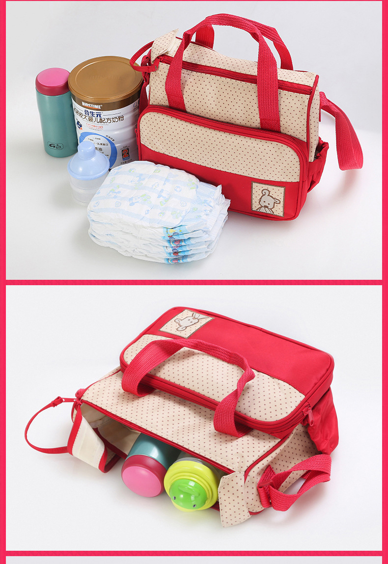 Easy to Carry 5pcs Baby Diaper Bag Suits For Mummy Bag Baby Bottle Holder Stroller Maternity Nappy Bags Sets (3)