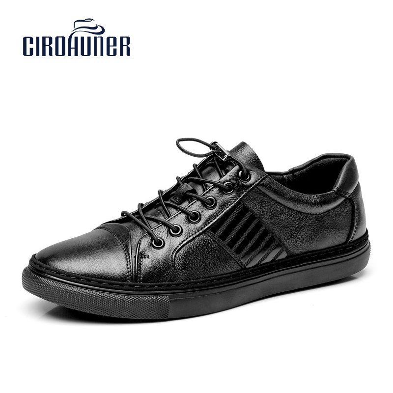 CIROHUNER Winter Casual Men Genuine Leather Shoes Flat Derss Male Formal Leather Men Shoes Brand Leather Black Men Flats<br>