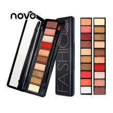 NOVO New 10 Colors Eye Shadow Shimmer Matte Fashion Eyeshadow Profession Make Up Palette Cosmetics Sets with Brush(China)