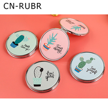 CN-RUBR PU Leather Makeup Mirrors Hand Round Mirrors Portable Pocket Cosmetic Compact Mirrors Makeup Beauty Tools  Accessories