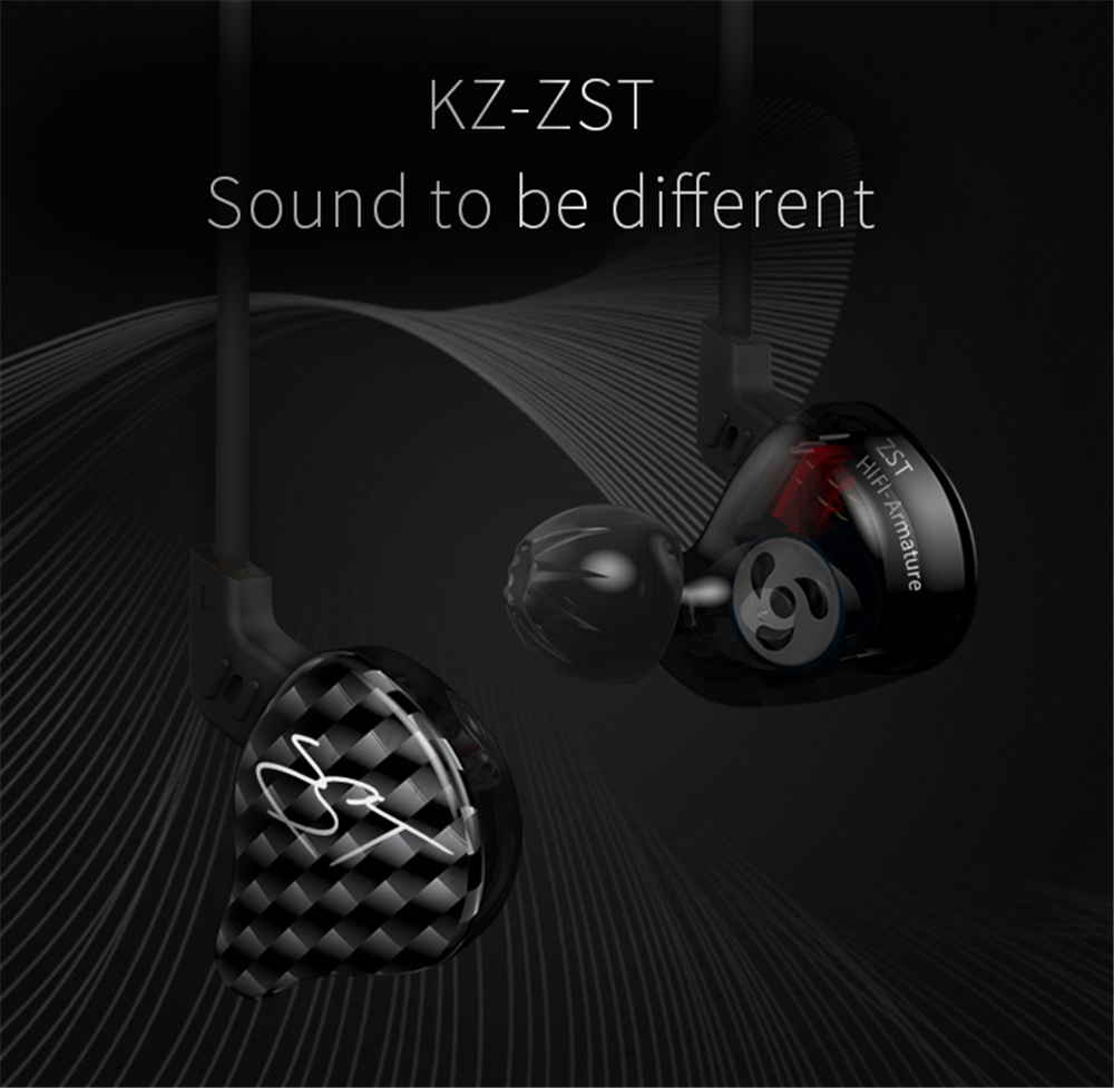 [Original]KZ ZST Balanced Armature+Dynamic Hybrid In Ear Earphone HIFI DJ Monito Running Sport Earphones Earplug Headset Earbud