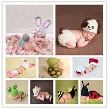Crochet Baby Photography Props Handmade Knitted Newborn Photos Hat Shoes Skirt Kids Cap Girls Cute Bow Baby Accessories Outfits(China)