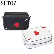 Fashion Poker Shape Woman Bags PU Leather Hearts Ace Shoulder Bag Crossbody Cute Pouch Messenger for Girls Purse Party Bag BA421(China)