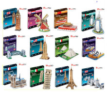Series S 3D Puzzle Paper DIY Papercraft Double Decker Bus Eiffel tower Titanic Tower Bridge Empire State Building(China)