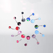Hot 10pcs/set Mix Color Stainless Acrylic Ball Barbell Bar Navel Belly Button Ring Piercing Tongue Body Women Jewelry Wholesale