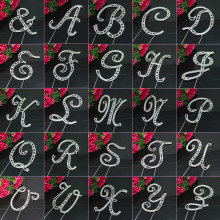 Large Diamante Rhinestone Crystal MONOGRAM LETTER ALPHABET Cake Toppers For Wedding Birthday Party Decoration 1pcs(China)