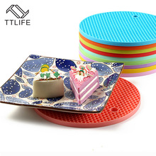 TTLIFE 1pc Colorful Round Non-Slip Heat Resistant Mat Coaster Cushion Placemat Pot Holder Table Silicone Mat Kitchen Accessories