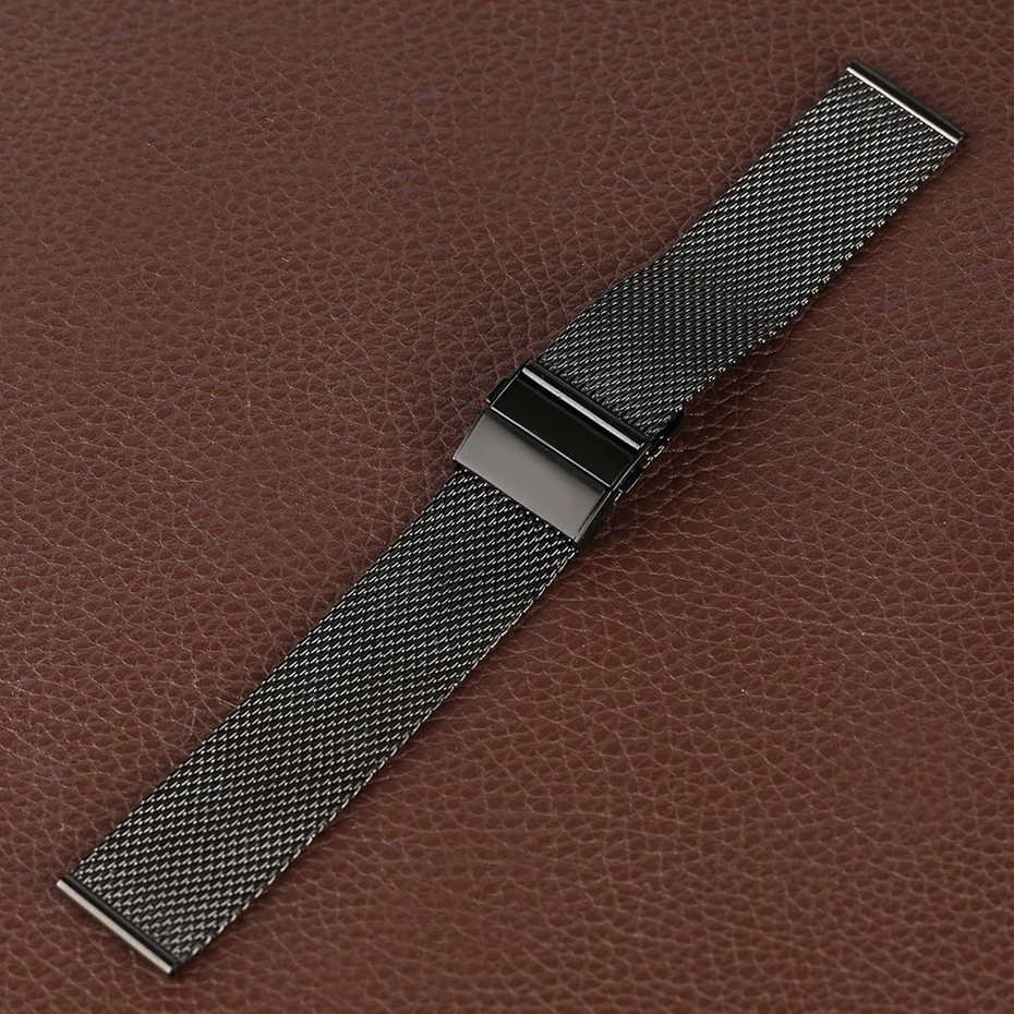 Mesh Milanese Bracelet Clasp Watchbands High Quality 18mm 20mm 22mm Silver Black Wrist Watch Band Strap for Clock Replacement 2018 (24)