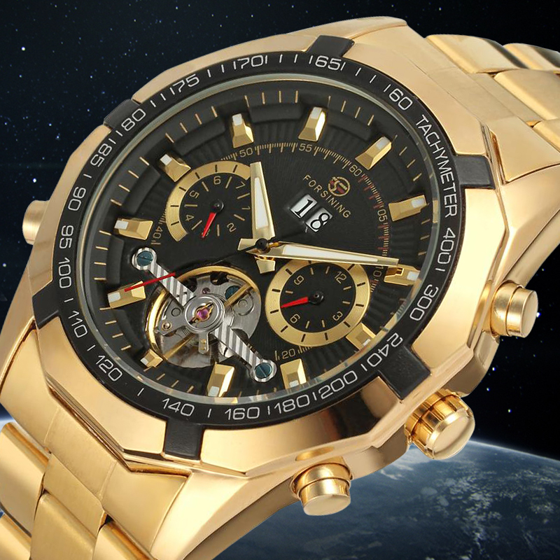 FORSINING Mens Watches Luxury Automatic Bracelet Mechanical Watch Round Dial Dress Wristwatch Color Gold<br>