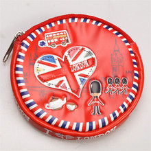 3D Embossed I Love London Series Circular Coin Purse 10cm Cartoon Key Bag Mini Change Purse Wholesale PU Leather Zipper Handbag