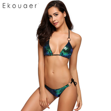 Buy Ekouaer New Bikini 2018 Swimwear Swimsuit Women Sexy Halter Sequins Bandage Swimsuit 2 Pieces Bikini Set Bathing Suit Beachwear