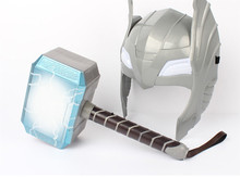 Newest The Avengers Alliance LED Glowing And Sounding Thor's Hammer LED Mask Thor Action Figures Cosplay Kids Brinquedos Gift(China)