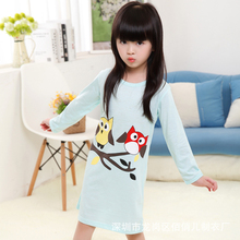 Fashion Design Bird Baby Girls Pajama Summer Cool Children Sleepwear Dress Nightgown Kids Nightie Dress Girls Princess Clothes