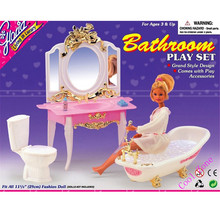 Miniature Furniture My Fancy Life Bathroom for Barbie Doll House Best Gift Toys for Girl Free Shipping(China)
